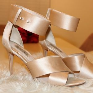 BADGLEY MISCHKA Nude Ankle Strap Sandal Heel 8